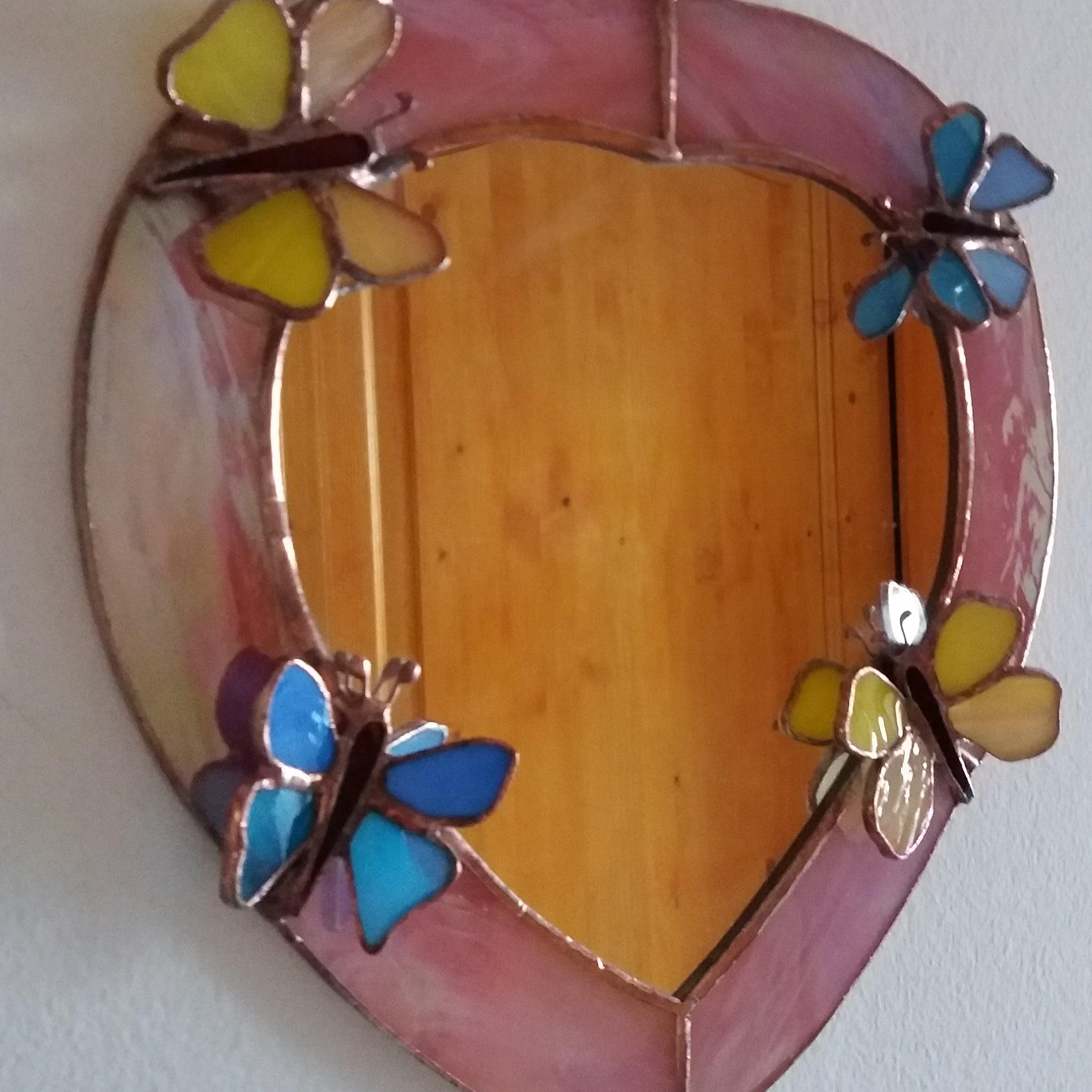 30x30cm felakasztható pillangós tükör